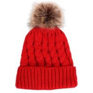 NWOT Cherry Red Winter Hat with Faux Fur Pom Pom